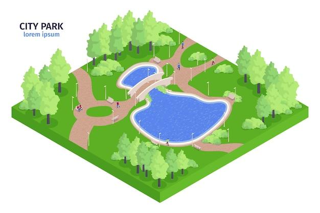 Composición isométrica del parque de la ciudad con ilustración de lago y bancos