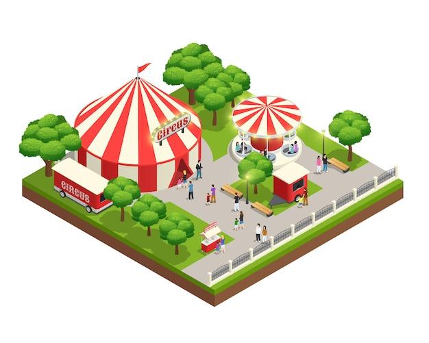 Composición isométrica del parque de diversiones con el quiosco del cajero del boleto de la tienda del circo del carrusel y gente con niños