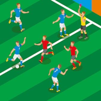 Composición isométrica del partido de fútbol con jugadores en forma de equipos competidores y árbitro mostrando tarjeta roja