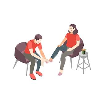 Composición isométrica de los pasos de primeros auxilios con el hombre haciendo masaje de piernas a la ilustración de la mujer herida