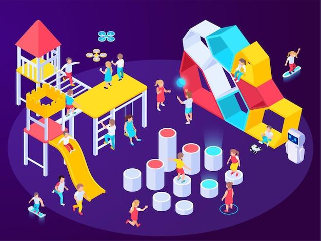 Composición isométrica del patio de recreo futurista moderno con imágenes de equipos de juego