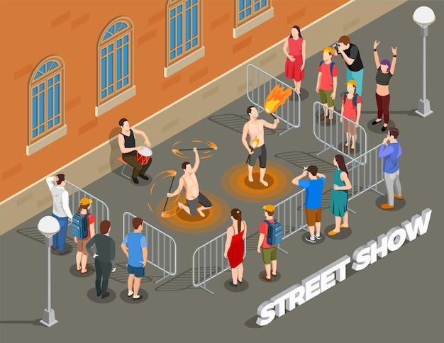Composición isométrica de performance callejera con espectáculo de fuego al ritmo de tambores y espectadores