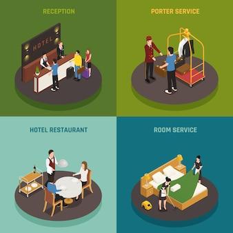 Composición isométrica del personal del hotel con recepción, restaurante y servicio de habitaciones.