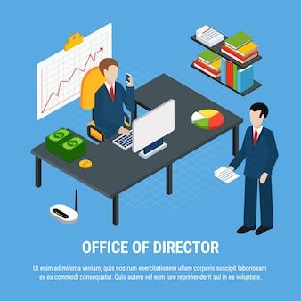 Composición isométrica de personas de negocios con imágenes de elementos interiores de oficina con ilustración de vector de gerente superior y empleado subordinado