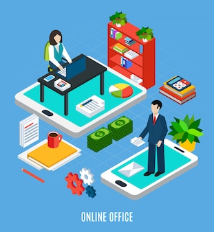 Composición isométrica de personas de negocios con imágenes de muebles de oficina y trabajadores en la parte superior de la ilustración de vector de gadgets de pantalla táctil