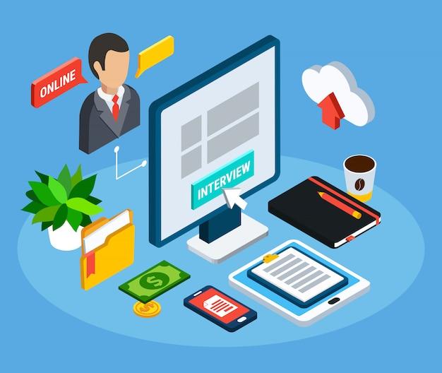 Composición isométrica de personas de negocios de pictogramas aislados e imágenes de equipos de oficina con computadora y avatar humano ilustración vectorial