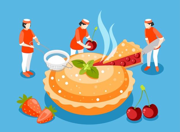 Composición isométrica de personas de panadería
