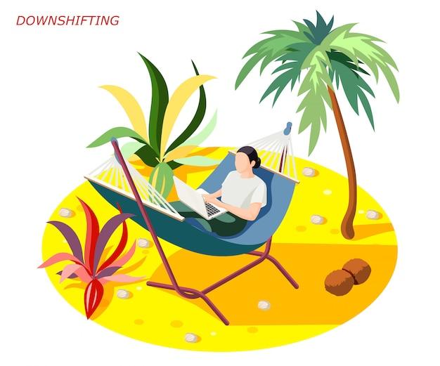 Composición isométrica de personas que escapan del estrés descendente con mujer relajante mientras trabajaba en la playa bajo la palma