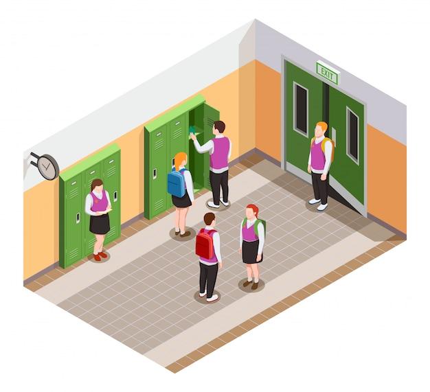 Composición isométrica de personas de secundaria con personajes humanos de estudiantes en el pasillo durante el tiempo de descanso ilustración