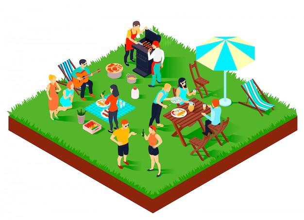 Composición isométrica de picnic de barbacoa