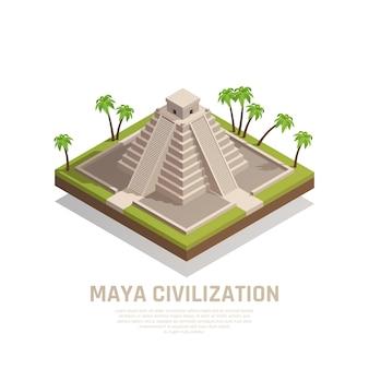 Composición isométrica de la pirámide maya