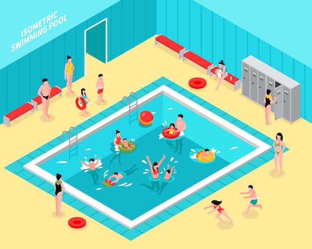Composición isométrica de piscina familiar