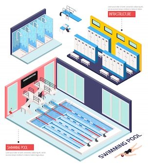 Composición isométrica de piscina con infraestructura, ilustración vectorial aislado