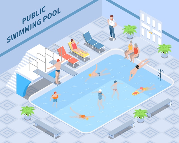 Composición isométrica de la piscina pública con los visitantes del entrenador durante la natación y el descanso de los elementos interiores