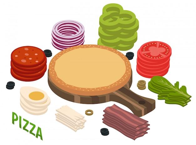 Composición isométrica de pizza