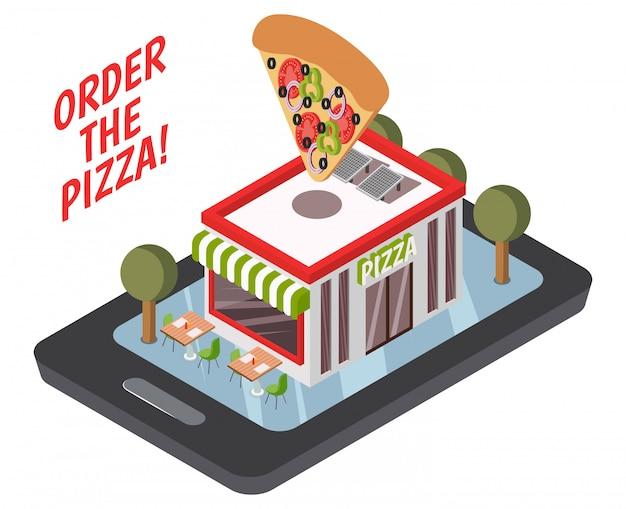 Composición isométrica de la pizzería en línea