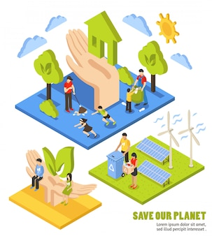 Composición isométrica del planeta ahorro