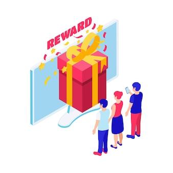 Composición isométrica del premio mayor de lotería en línea con recompensa y personajes de ganadores 3d