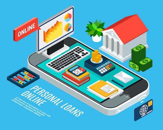 Composición isométrica de préstamos con banca móvil relacionada y documentos en la pantalla del teléfono inteligente