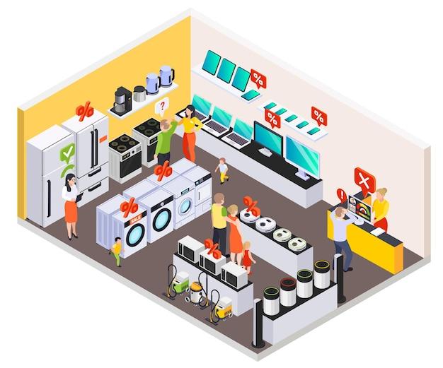 Composición isométrica de préstamos bancarios con vista a la tienda de electrónica de consumo y electrodomésticos