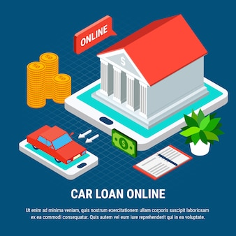 Composición isométrica de préstamos con elementos combinados de dispositivos de pantalla táctil, construcción de bancos y automóviles