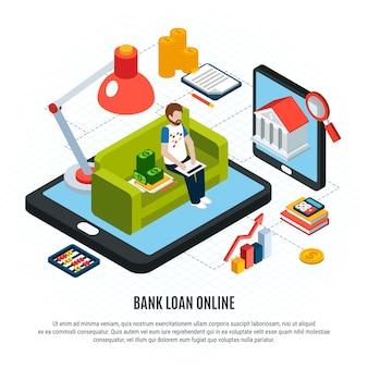 Composición isométrica de préstamos con texto editable y elementos de servicios bancarios en línea y dinero