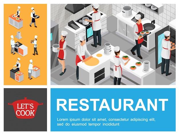 Composición isométrica del proceso de cocción del restaurante con meseros, cocineros y asistentes que preparan productos horneados, sopa, tortilla y verduras en la cocina.
