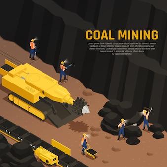 Composición isométrica de producción de carbón de mineros