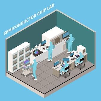 Composición isométrica de producción de chips semiconductores.
