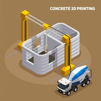 Composición isométrica de producción de hormigón con vista del edificio impreso en 3d en construcción con camión mezclador de cemento