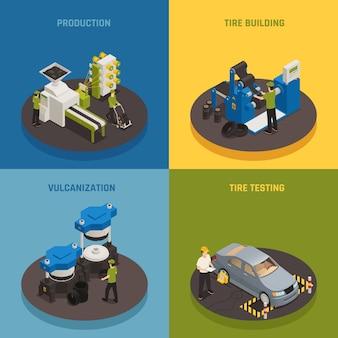 Composición isométrica de producción de neumáticos con equipo industrial y creación y prueba de productos para el personal.