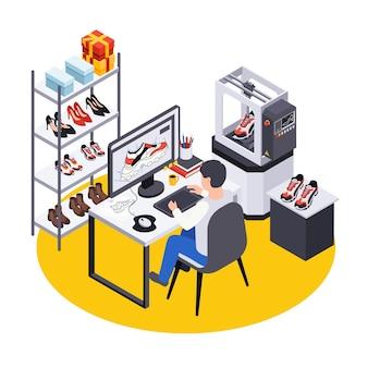 Composición isométrica de producción de zapatos de calzado con vista del lugar de trabajo de los diseñadores con computadora y zapatos en la ilustración de los estantes