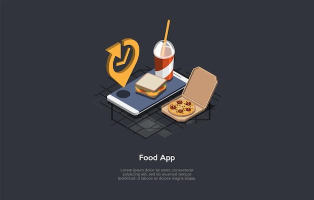 Composición isométrica de productos alimenticios en anuncios de aplicaciones
