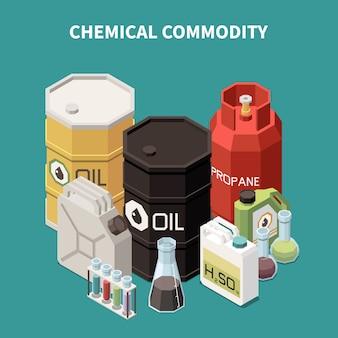 Composición isométrica de productos básicos con imágenes coloridas de tanques de petróleo y gas, frascos y tubos de vidrio.