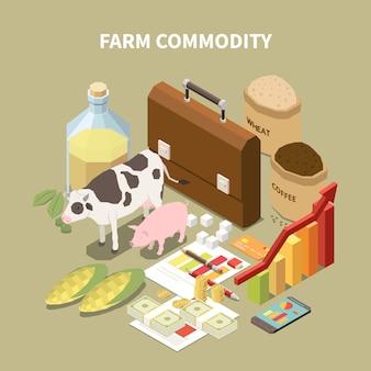 Composición isométrica de productos con imágenes conceptuales de animales relacionados con la agricultura y elementos infográficos con texto.