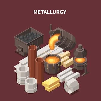 Composición isométrica de productos con imágenes de vagones de tubos de ollas de fuego y diversos productos industriales de producción metalúrgica