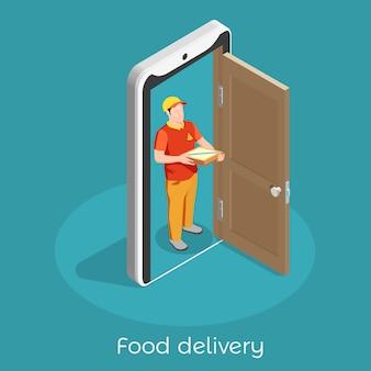 Composición isométrica de profesiones de trabajadores con ilustración de hombre de entrega de alimentos