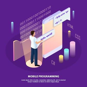 Composición isométrica de programación independiente con carácter humano e interfaz interactiva con iconos y texto infográficos