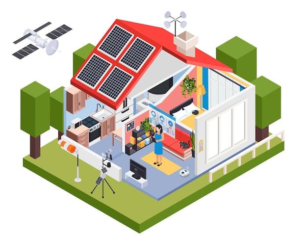 Composición isométrica del pronóstico del tiempo de meteorología con vista exterior de la casa con baterías solares e ilustración de veleta