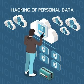Composición isométrica de protección de datos personales de privacidad digital.