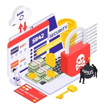 Composición isométrica de protección de datos personales con tarjeta de crédito billetes monedas candado rojo con calavera