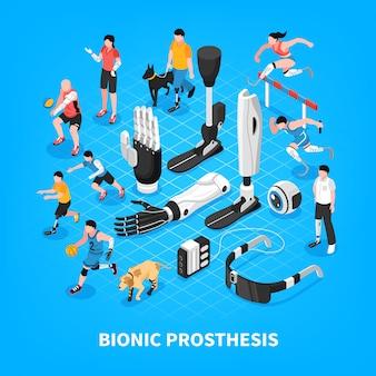 Composición isométrica de la prótesis biónica