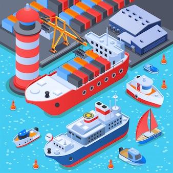 Composición isométrica de puerto con naves