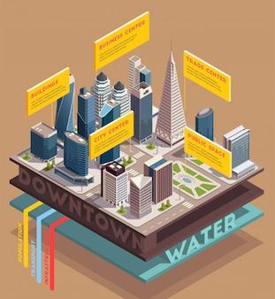 Composición isométrica de rascacielos de la ciudad con imágenes de edificios altos y vista en rodajas del metro con ilustración de vector de texto