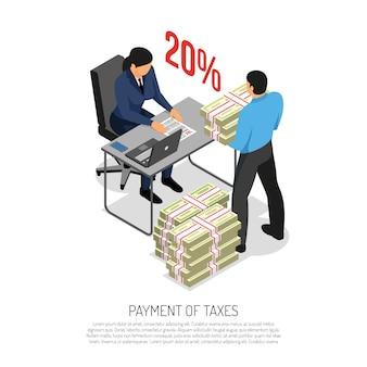 Composición isométrica de la recaudación de impuestos con el inspector que verifica la declaración y el contador comercial que trae la ilustración del vector de los billetes