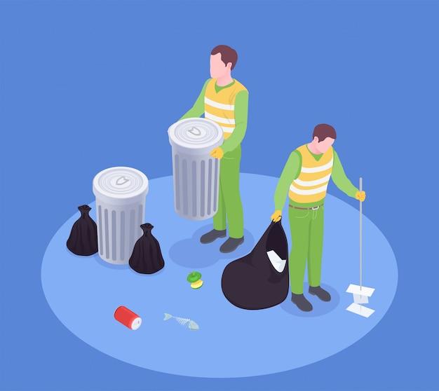 Composición isométrica de reciclaje de residuos de basura con personajes humanos sin rostro de carroñeros con contenedores de basura e ilustración de vector de cepillo