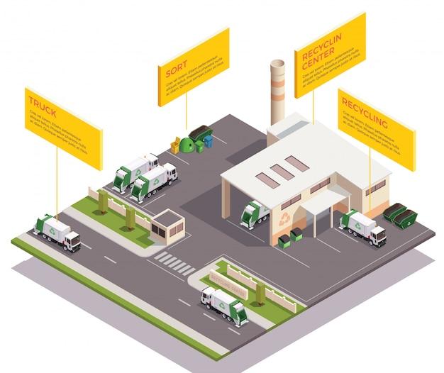 Composición isométrica de reciclaje de residuos de basura con subtítulos de texto infográfico y vista del edificio de la fábrica y vehículos ilustración vectorial