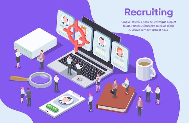 Composición isométrica de reclutamiento en línea de recursos humanos con currículum vitae de candidatos y personajes de reclutamiento