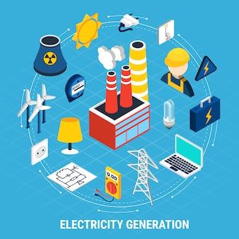 Composición isométrica y redonda de electricidad