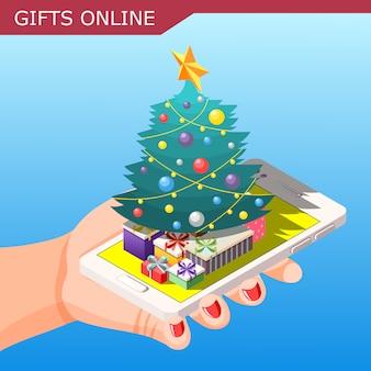 Composición isométrica de regalos en línea